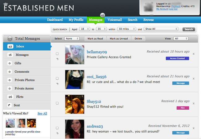Inbox screenshot of Established Men